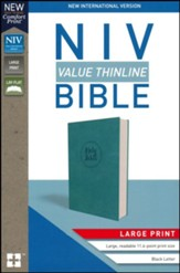 NIV Value Thinline Bible Large Print Blue, Imitation Leather