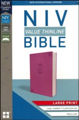 NIV Value Thinline Bible Large Print Pink, Imitation Leather