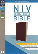 NIV Thinline Bible Giant Print Burgundy, Bonded Leather