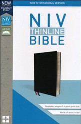 NIV Thinline Bible Black, Bonded Leather - Slightly Imperfect