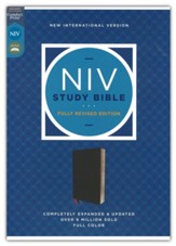 NIV Study Bible, Fully Revised Edition--bonded leather,  black (red letter)