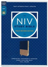NIV Study Bible, Revised Edition, Comfort Print--soft leather-look, navy/tan (red letter)