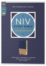 NIV Study Bible, Revised Edition, Comfort Print--soft leather-look, navy/tan (indexed, red letter)