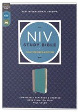 NIV Study Bible, Fully Revised  Edition, Comfort Print--soft leather-look, teal/gray (red letter)