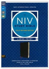 NIV Large-Print Study Bible, Fully Revised Edition, Comfort Print--bonded leather, black (indexed, red letter)