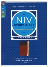 NIV Large-Print Study Bible, Fully Revised Edition, Comfort Print--soft leather-look, brown (red letter)