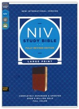 NIV Large-Print Study Bible, Fully Revised Edition, Comfort Print--soft leather-look, brown (indexed, red letter)