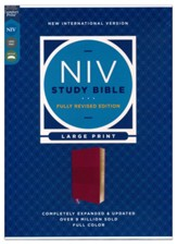 NIV Large-Print Study Bible, Fully Revised Edition, Comfort Print--soft leather-look, burgundy (red letter)