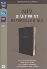 NIV Comfort Print Reference Bible, Giant Print, Leather-Look, Black - Imperfectly Imprinted Bibles