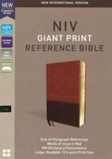 NIV Comfort Print Reference Bible, Giant Print, Imitation Leather, Brown, Indexed