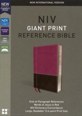 NIV Comfort Print Reference Bible, Giant Print, Imitation Leather, Pink and Brown