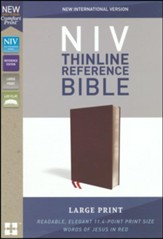 NIV Comfort Print Thinline Reference Bible, Large Print, Bonded Leather, Burgundy