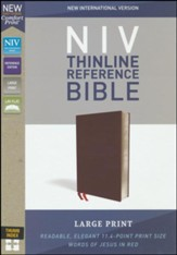 NIV Comfort Print Thinline Reference Bible, Large Print, Bonded Leather, Burgundy, Indexed - Imperfectly Imprinted Bibles