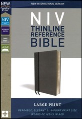 NIV Comfort Print Thinline Reference Bible, Large Print, Imitation Leather, Gray