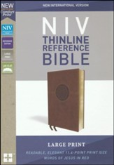 NIV Comfort Print Thinline Reference Bible, Large Print, Imitation Leather, Brown
