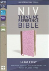 NIV Comfort Print Thinline Reference  Bible, Large Print, Imitation Leather, Pink and Brown