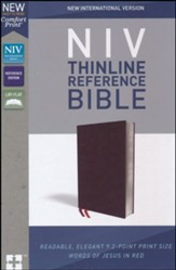 NIV Comfort Print Thinline Reference Bible, Bonded Leather, Burgundy - Imperfectly Imprinted Bibles