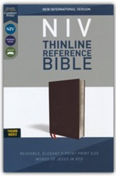 NIV Comfort Print Thinline Reference Bible, Bonded Leather, Burgundy, Indexed - Imperfectly Imprinted Bibles