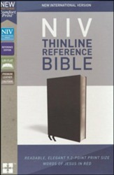 NIV Comfort Print Thinline Reference Bible, Premium Leather, Calfskin, Black - Imperfectly Imprinted Bibles