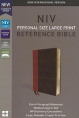 NIV Comfort Print Personal Size Reference Bible, Large Print, Imitation Leather, Brown,