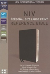 NIV Comfort Print Personal Size Reference Bible, Large Print, Premium Leather, Black