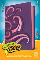 NLT Hands-On Bible--soft  leather-look, purple/pink swirls