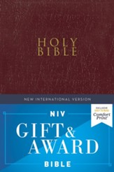 NIV, Gift and Award Bible, Leather-Look, Burgundy, Comfort Print
