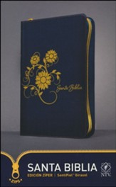 Santa Biblia NTV, Edicion ziper, Girasol (SentiPiel) (NTV Holy Bible, Zipper Edition--soft leather-look, navy with sunflowers)