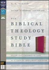 NIV Comfort Print Biblical Theology Study Bible, Imitation Leather, Pink and Brown, Indexed - Imperfectly Imprinted Bibles