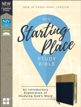 NIV, Starting Place Study Bible,  Leathersoft, Blue and Tan, Indexed, Comfort Print