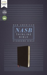 NASB Comfort Print Thinline Bible, Red Letter Edition--bonded leather, black