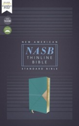 NASB Comfort Print Thinline Bible,  Red Letter Edition--soft leather-look, teal
