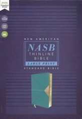 NASB Large-Print Thinline Bible, Red  Letter Edition--soft leather-look, teal