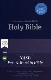 NASB Comfort Print Pew and Worship Bible--hardcover, blue