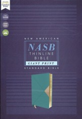 NASB Giant-Print Thinline Bible, Red Letter Edition--soft leather-look, teal