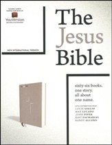 NIV Comfort Print Jesus Bible--cloth over board, gray