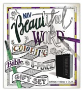 NIV Beautiful Word Coloring Bible and 8-Pencil Gift Set--soft leather-look, brown