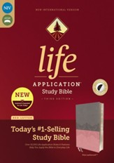 NIV Life Application Study Bible, Third Edition--soft leather-look, gray/pink (indexed)