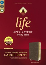 NIV Life Application Study Bible,  Third Edition, Large Print, Bonded Leather, Brown, Indexed