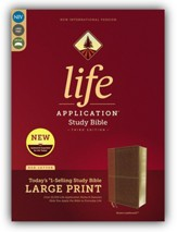 NIV Life Application Study Bible, Third Edition, Large Print, Leathersoft, Brown, Indexed