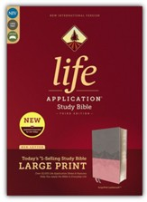 NIV Life Application Study Bible, Third Edition, Large Print, Leathersoft, Pink, Indexed