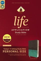 NIV Life Application Study Bible,  Third Edition, Personal Size, Leathersoft, Gray and Teal, Indexed