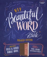 NIV Beautiful Word Bible, Updated  Edition--soft leather-look over hardcover, brown/pink