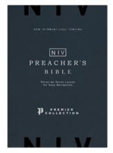NIV Preacher's Bible, Verse-by-Verse Format, Comfort Print, Premier Collection, Goatskin, Black