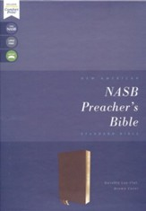 NASB Comfort Print Preacher's Bible--soft leather-look, brown