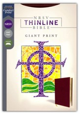 NRSV Thinline Bible, Giant Print,  Comfort Print, Leathersoft, Burgundy