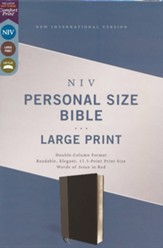 NIV Personal-Size Large-Print Bible--soft leather-look, black