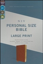 NIV Personal-Size Large-Print Bible--soft leather-look, brown