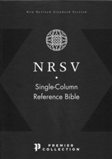 NRSV Single-Column Reference Bible,  Comfort Print--premium goatskin leather, black, Premier Collection