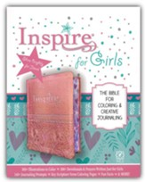 NLT Inspire Bible for Girls: The Bible for Coloring & Creative Journaling--soft leather-look, pink